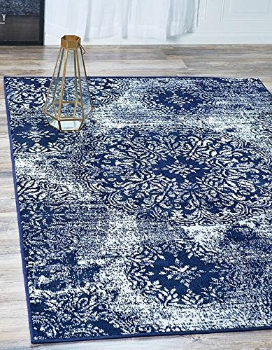 Navy Blue Four (Unique Loom Sofia Collection Navy Blue 4 x 6 Area Rug (4' x 6'))