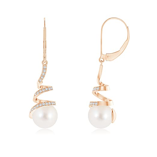 Angara Freshwater Cultured Pearl Swirl Leverback Earrings FYaUUm467T