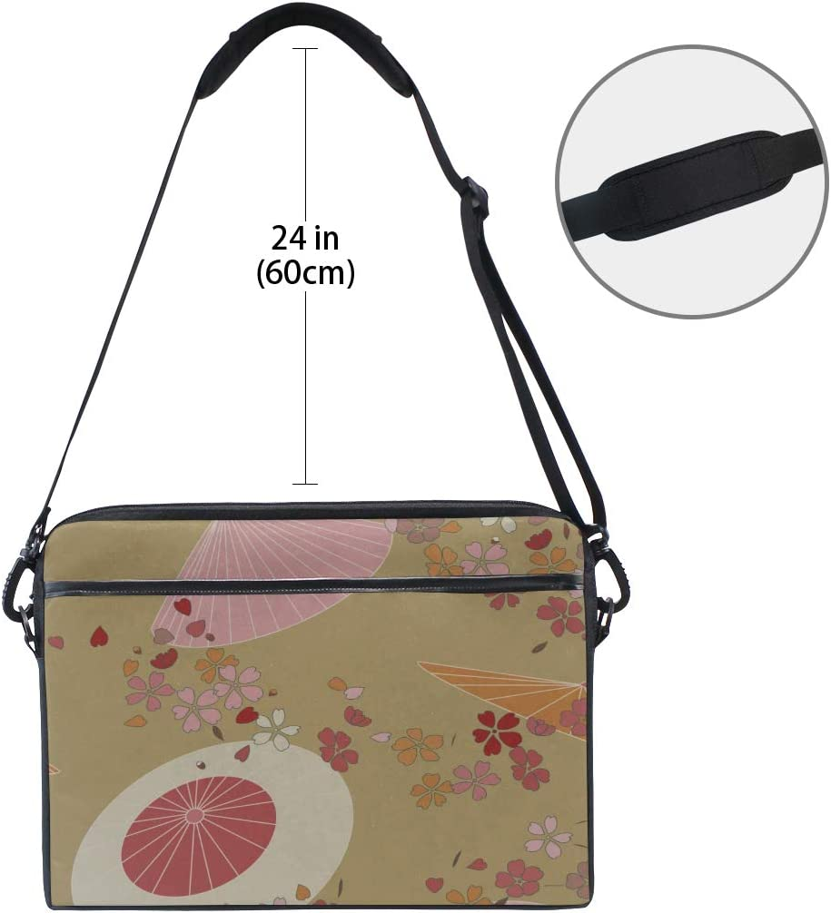 Briefcase Messenger Shoulder Bag for Men Women College Students Business People Office Workers Laptop Bag Bright Colored Summer Asian Traditional Print 15-15.4 Inch Laptop Case