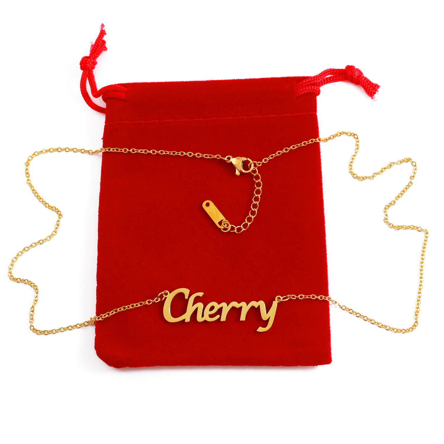 18ct Gold Plated Kigu Cherry Custom Name Necklace Personalized