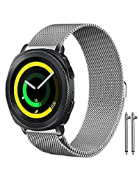 """Band for Samsung Gear Sport Watch, AFUNTA 6.7"""" - 8.1"""" Stainless Steel Milanese Loop Replacement Wristband Strap for Gear Sport Smart Watch - Silver"""