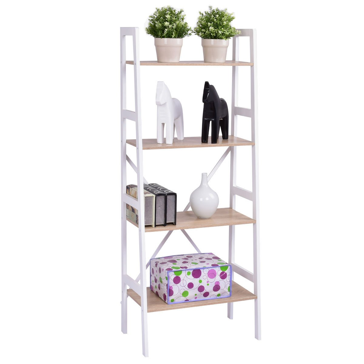 Giantex 3 Tier Bookshelf Bookcase Ladder Wall Stand Storage Shelves Book Rack HW55484