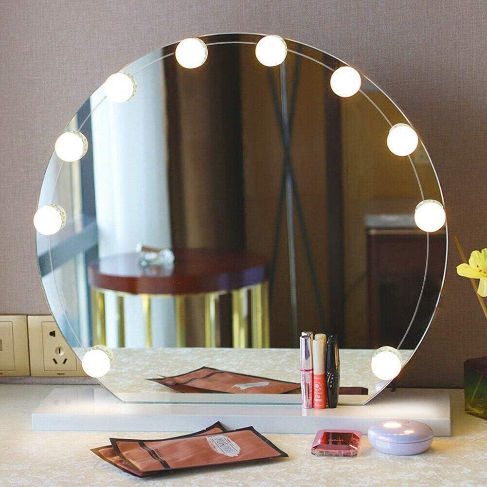 LED Spiegelleuchte,Schminktisch Beleuchtung,10 LED Schminklicht f/ür Spiegel,Lampe mit Dimm-Funktion mit warmwei/ß//kaltwei/ß//naturwei/ß,Spiegel Nicht Inbegriffen