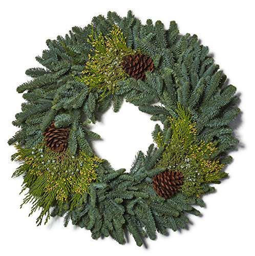 Kabloom Holiday Collection: Real Holiday Wreath (20-Inches) Made with Fresh Balsam Greens, Juniper Greens, Noble Fir Greens and Pine - Balsam Wreath Fresh