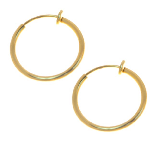 Deluxe Adult Costumes - Men's clip-on gold-tone non-pierce pirate hoop earrings