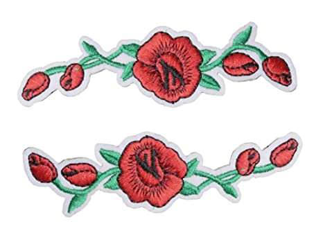 Amazon tenner london a pair of flowers embroidery patch iron