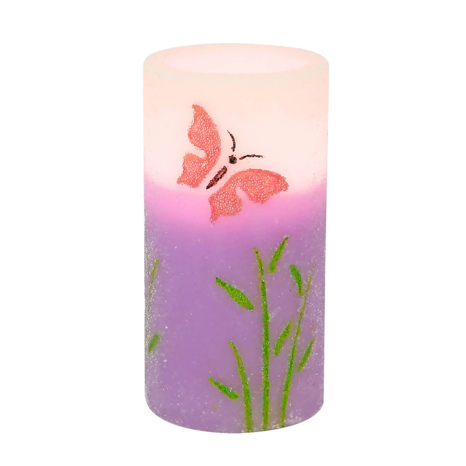 Flameless LED Candle with Timer Battery Operated Real Wax Pillar Candles Embossed Purple Butterfly Pattern