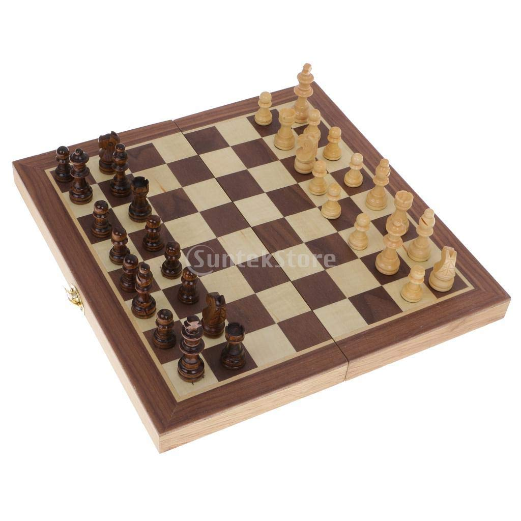 Wooden Chess Set Wood Board Folding Storage Box Chessboard Checkers Game 29.5 CM