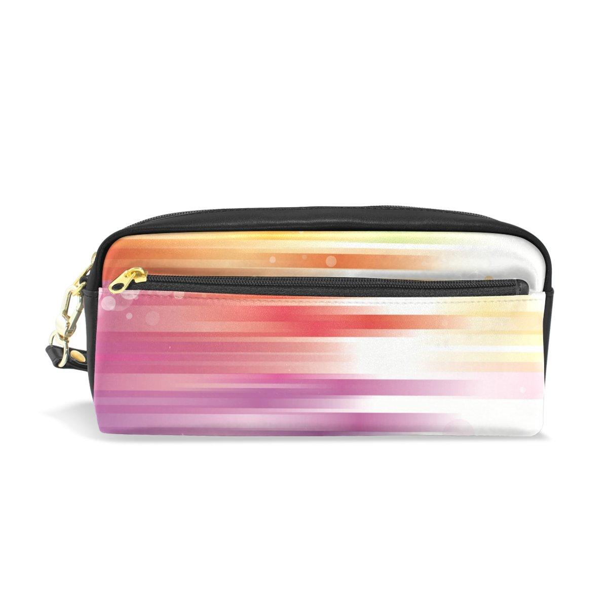 BENNIGIRY Regenbogenfarbe Bleistift Fall tragbar Pen Tasche Student Schreibwaren Pouch PU Leder Groß Kapazität Reißverschluss Make-up Kosmetiktasche B079NNJWT1     | Billig ideal