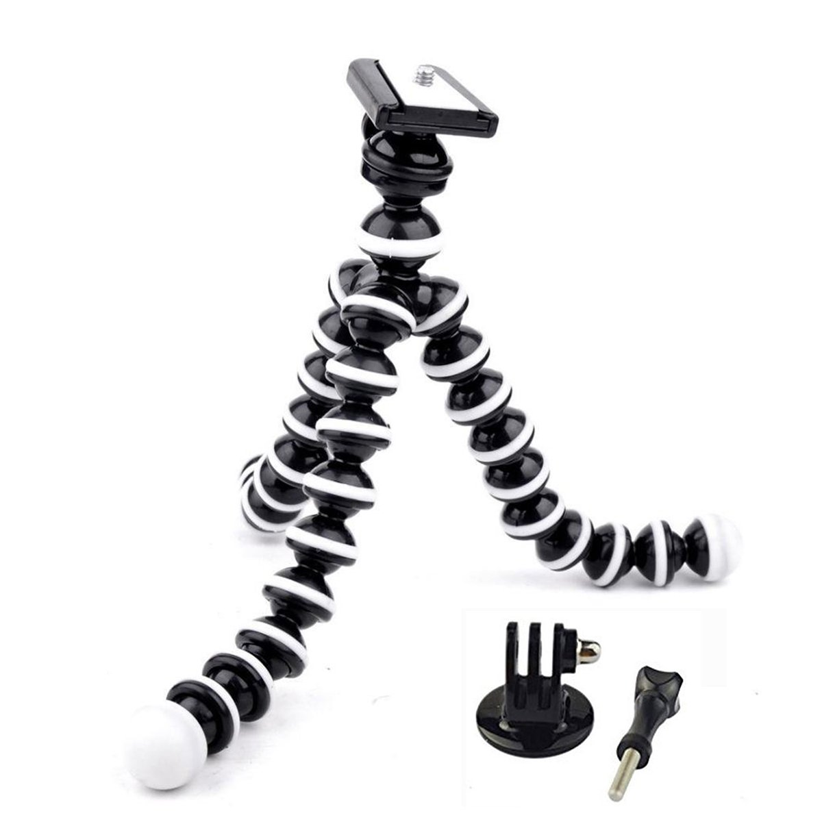 Eggsnow Flexible Octopus Tripod Stand for Gopro Mount Adapter included-Black