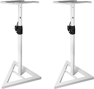 Rockville Pair Studio Monitor Speaker Stands w/Adjustable Height, White (RVSM1