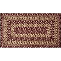 VHC Brands Classic Country Primitive Flooring - Burgundy Tan Jute Red Rug, 23 x 4