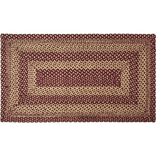 (VHC Brands 9502 Classic Country Primitive Flooring-Burgundy Tan Jute Red Rug, 27 x 48, Non-Stenciled)