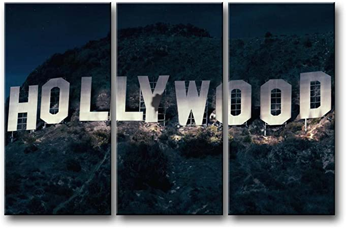 Amazon Com So Crazy Art 3 Pieces Wall Art Painting Hollywood Sign In Mountain Prints On Canvas The Picture City Pictures Oil For Home Modern Decoration Print Decor For Furniture Posters Prints