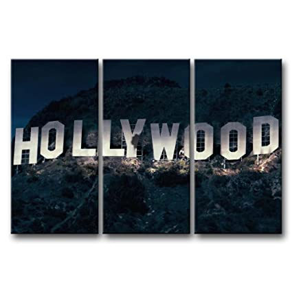 Amazon.com: So Crazy Art 3 Pieces Wall Art Painting Hollywood Sign ...