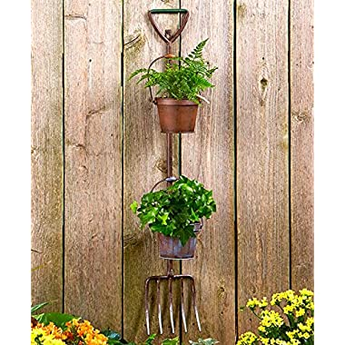 Country Farm Garden Wall Hanging Decor Rustic Metal Planters (pichfork)