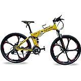 cqcy FR100 Full Suspension 24 Speeds Folding Mountain Bike in Aluminium Frame Disc Brakes For Men