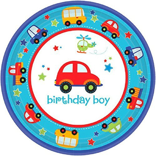 amscan All Aboard 1st Birthday Party Plates 18 Count Multicolor One Size