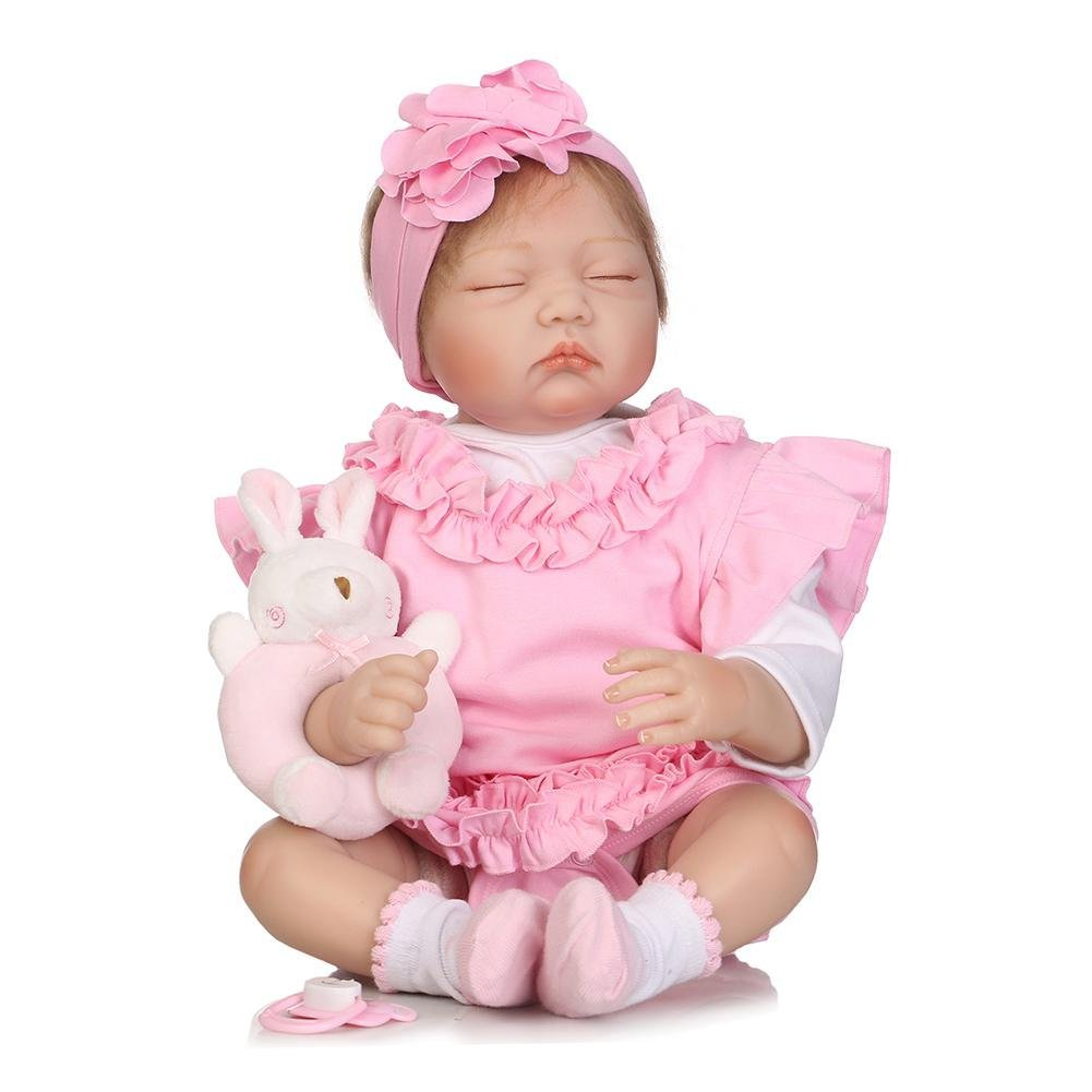 chinatera Kids Toys NPK 3D Cute Artificial Realistic Reborn Baby Doll Soft Silicone Cloth Dolls Kids Playmate