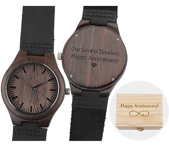 Relojes de Madera Grabados Personalizados para Hombre Marido Regalo para Novio Regalo para Hombres: Amazon.es: Relojes