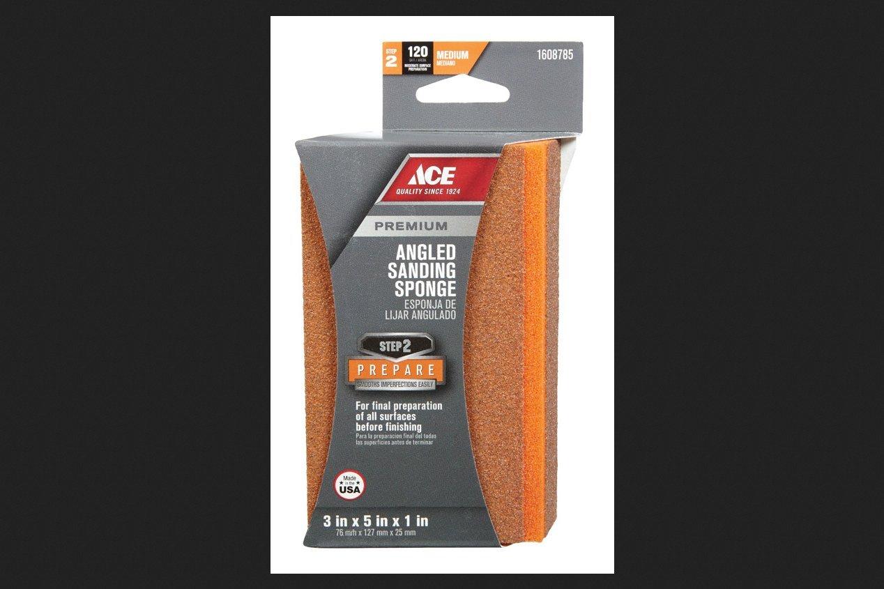 Ace Aluminum Oxide Angled Sanding Sponge 5 in. L Medium 120 Grit