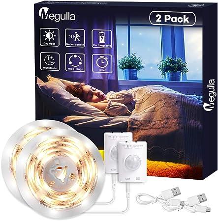 Tira de luces LED, inalámbrica, sensor de movimiento, luz nocturna, batería recargable con USB, apagado automático, temporizador para habitación infantil, despensa y escaleras: Amazon.es: Hogar