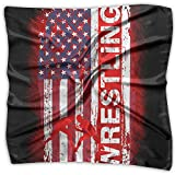 Wrestling American Flag Distress Women's Fashion Print Square Scarf Neckerchief Headdress S