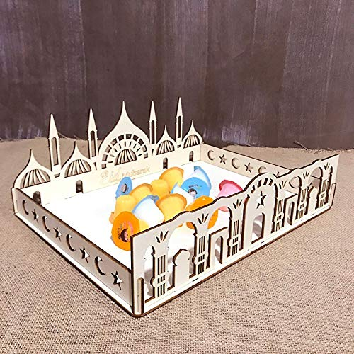 Compote Candy Dish - Fruit Compote Bowl Dish Decoration Wooden Tray Candy Snack Nuts Box Holder Food for Eid Mubarak Ramadan Muslim Islam