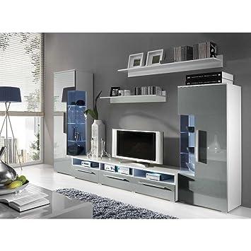 Wohnwand weiß grau hochglanz  JUSTyou Romo Wohnwand Anbauwand Schrankwand Farbe: Weiß Matt/Grau ...