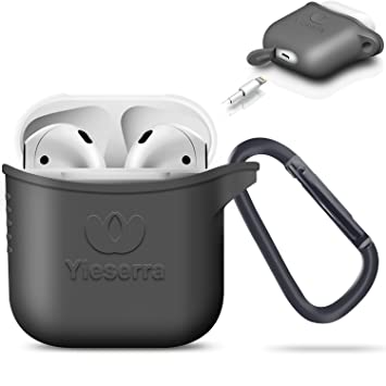 AirPods Case Protective Airpods Funda, Silicone Skin Case with Clip for Apple AirPods(Grigio