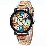 Relojes Pulsera Mujer,KanLin1986 Harajuku graffiti patrón de cuero cinturón análogo cuarzo relojes Para Mujeres