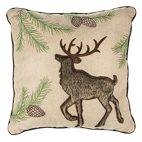 Buck Deer Pinecones 16 x 16 Inch Polyester Winter Piped Throw - Pinecone Reviews