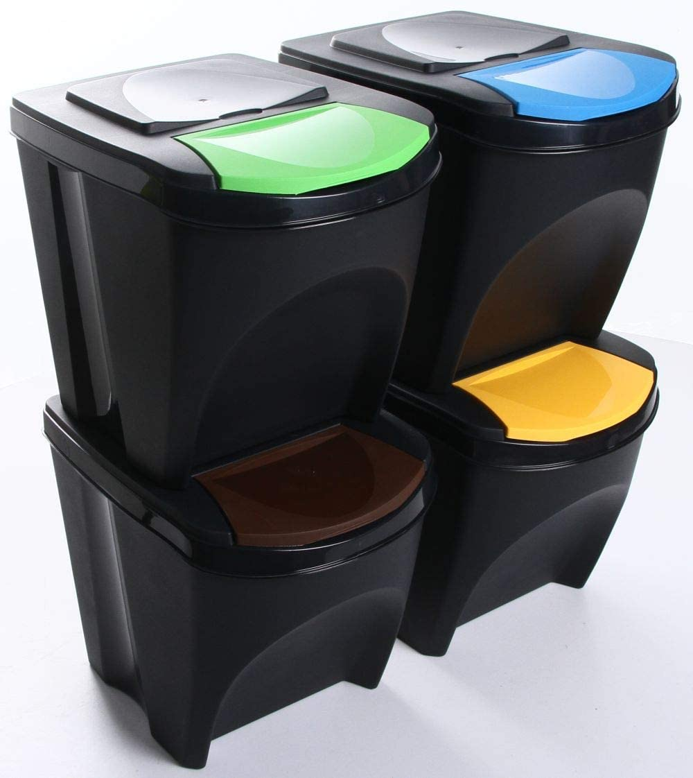 4x25L Beh/älter Sorti Box M/üllsortierer 3 Farben von rg-vertrieb Anthrazit M/ülleimer Abfalleimer M/ülltrennsystem 100L