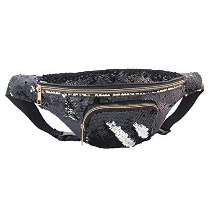 081ec6f9159e Play Tailor Mermaid Sequin Fanny Pack for Women Flip Sequin Waist Bag Bum  Bags with PU Leather, Quality Enhanced Edition
