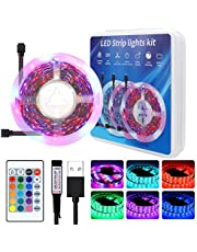 YETAIDA 5V USB LED Strip Light 16.4ft,RGB TV Backlight 2835 Lighting for TV Room Holiday Decoration with 24 Keys Remote Controller