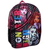 Monster High 16 inch Backpack - Black with Pink Trim