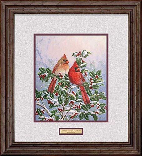 - Winter's Splendor - Cardinals Framed Signed Print by Marc Hanson