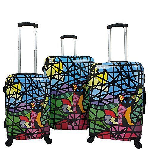 Chariot Cat Stained Glass Art 3-Piece Hardside Lightweight Spinner Luggage Set, Glass Cat by Chariot
