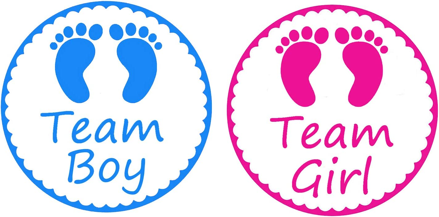 Gender Reveal Stickers - PojoTech Team Boy and Team Girl Baby Shower Stickers Gender Reveal Party Supplies Decorations - 80 Pack