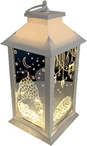 Eid Ramadan Mubarak Candle Lantern With unique holographic starlight Outdoor Lanterns Decorative Candle Lantern Moon Star LED Night Light Decor Hollow Metal Art Hanging Lantern Ornaments for Garden