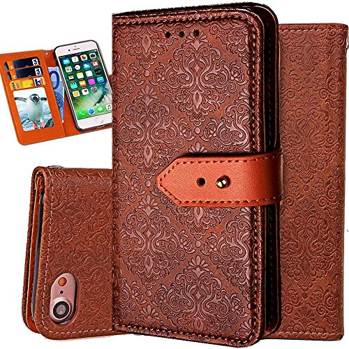iPhone 8 Plus Case Wallet,iPhone 7 Plus Wallet Case for Women,Auker Vintage Mural Folio Flip Leather Fold Stand Shockproof Body Protective Buckle Purse Case with 3 Card Holder/Cash Pocket-Brown