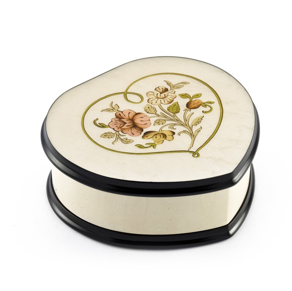Ivory Stain Heart Shaped Music Box with Floral Centered in Heart Outline Inlay - Over 400 Song Choices - Hey Jude (The Beatles)
