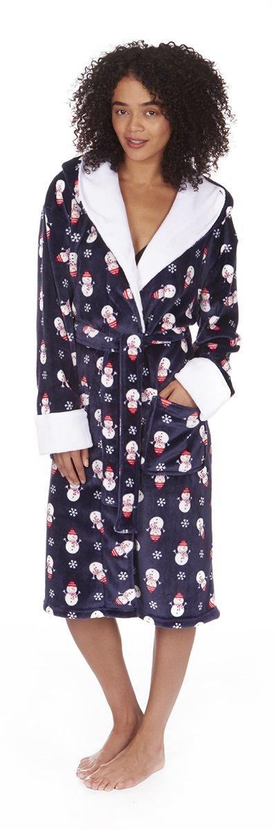 Vestaglia da donna in pile, con cappuccio, in tema natalizio, motivo: pupazzi di neve su sfondo blu oltremare o pettirossi su sfondo rosso, misure da S a XL