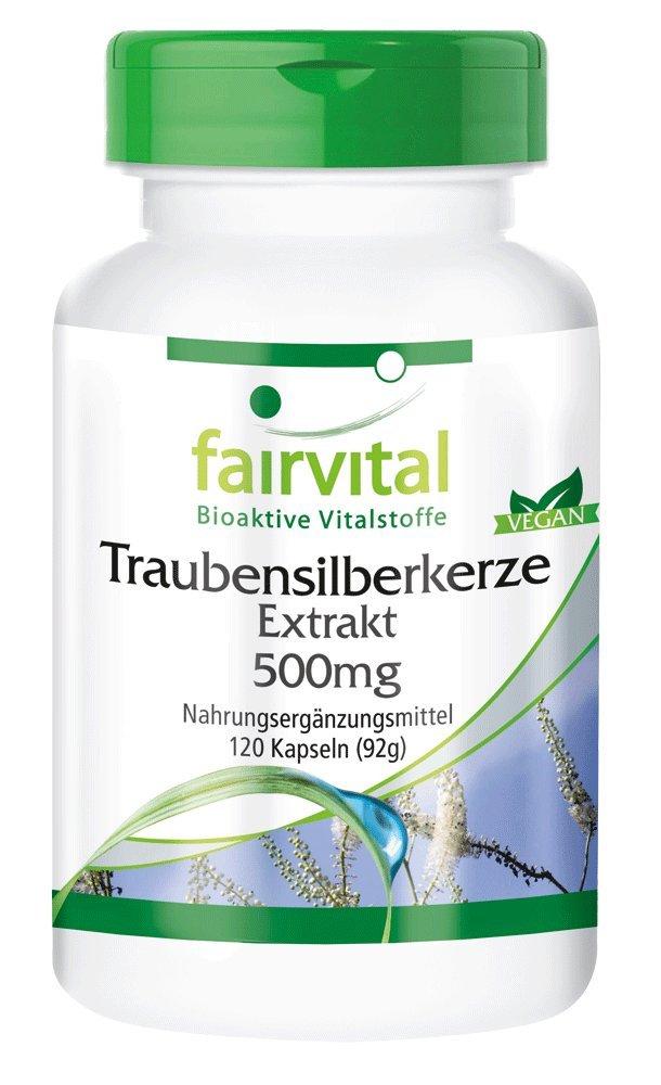fairvital - Cimífuga - Extracto de Cohosh Negro - 120 cápsulas vegetarianas - Sin aditivos - 500mg - ¡Calidad Alemana garantizada!