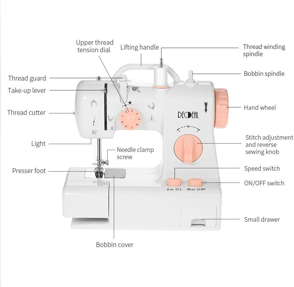 Decdeal FHSM-318 Máquina de Coser Eléctrica Portátil con Luz y ...