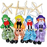 Arich 4pcs Pull String Puppet Clown Wooden Marionette Joint Activity Doll Vintage Child Toy