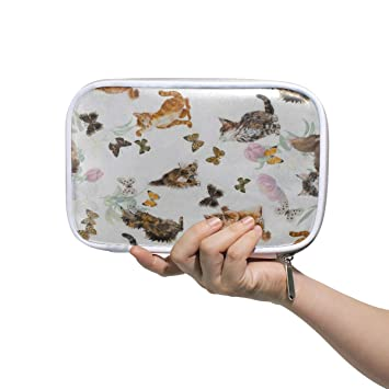 f75b94fe43 Amazon.com: Cute Kitten Cat Floral Butterfly Big Pencil Case Multifunction  Leather Cosmetic Brush Set Bag Storage Zip Bags: Beauty