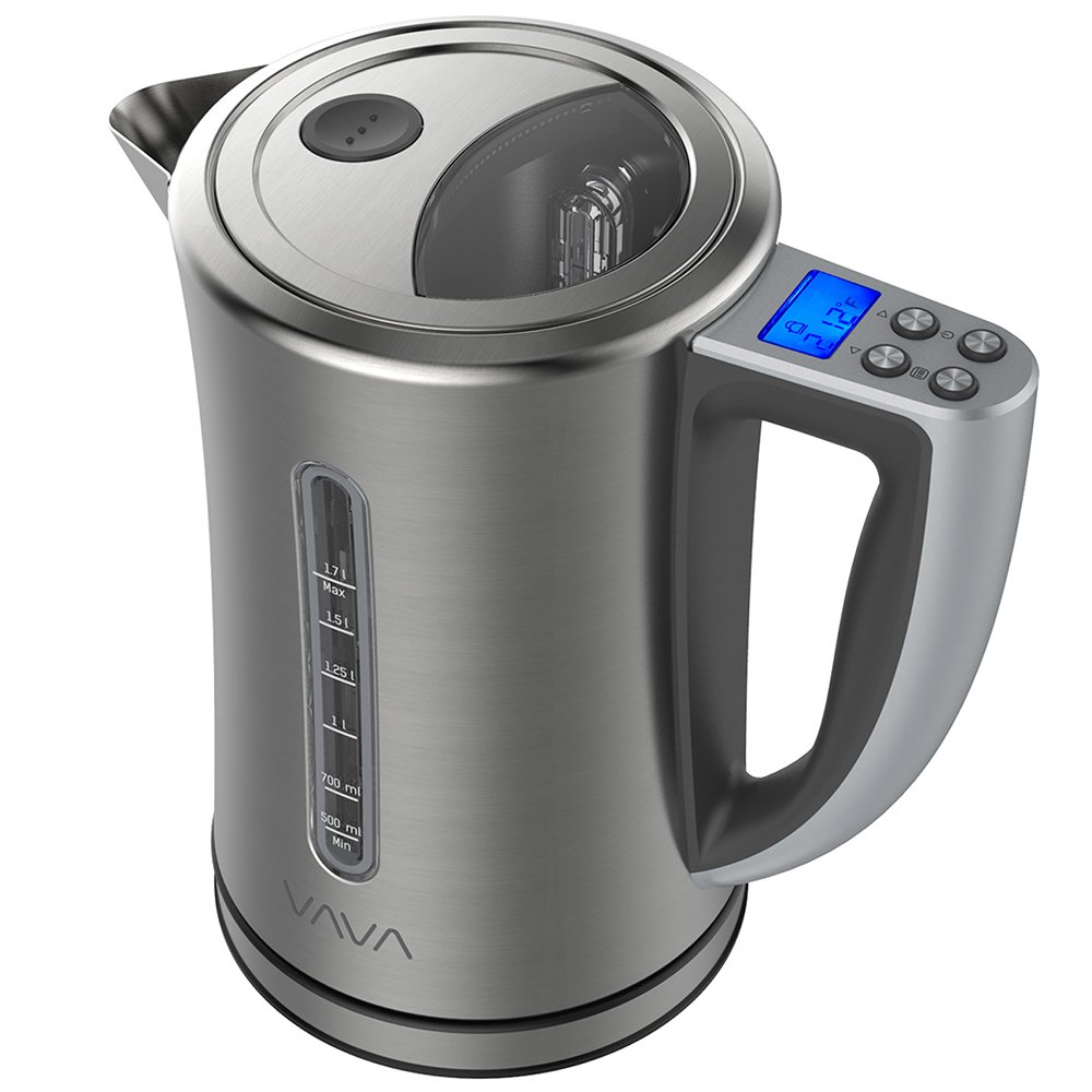 VAVA Electric Kettle Temperature Control Water Kettle Stainless Steel Cordless Tea Kettle with LCD Display (BPA-Free Build, Keep Warm Function, Strix Control, FDA Certified), 1.7-Liter
