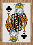 King Area Rug by Ambesonne, King of Clubs Playing Gambling Poker Card Game Leisure Theme without Frame Artwork, Flat Woven Accent Rug for Living Room Bedroom Dining Room, 5.2 x 7.5 FT, Multicolor