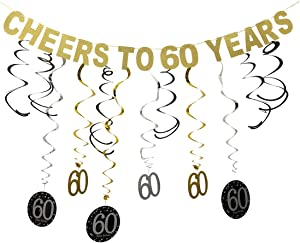 GuassLee 60th Birthday Party Decorations KIT - Cheers to 60 Years Banner Swirls for Women Men 60th Birthday Party Decorations